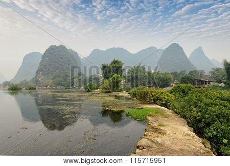 Yu Long river Karst mountain landscape in Yangshuo Guilin, China