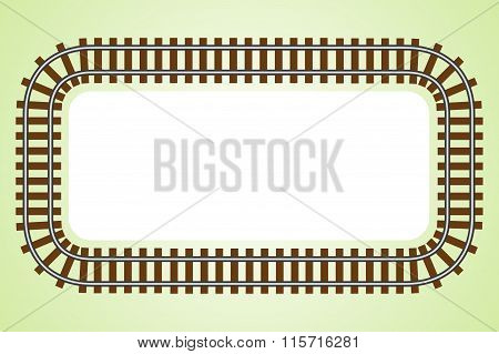 Locomotive Railroad Top Wiev Track Frame Rail Transport Background Border With Place For Text Banner