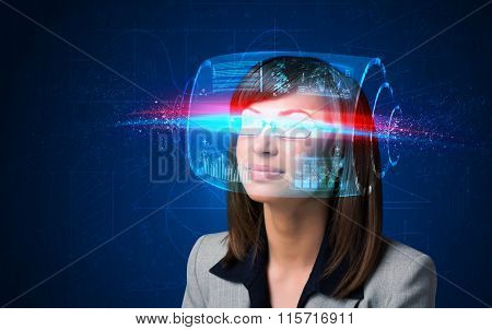 Woman with high tech smart glasses concept