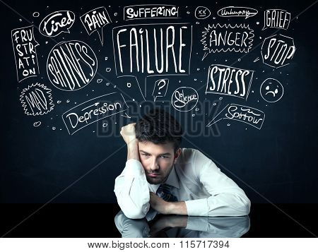 Young depressed businessman sitting under white drawn trouble thought boxes