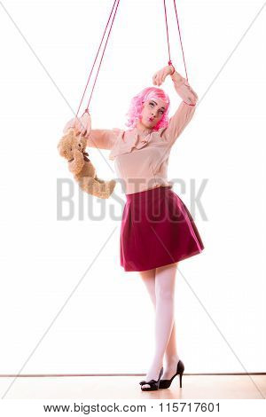 Woman Girl Stylized Like Marionette Puppet On String