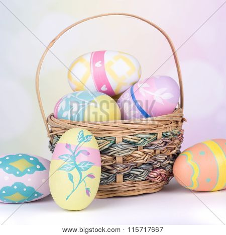 Painted Easter Eggs And Basket