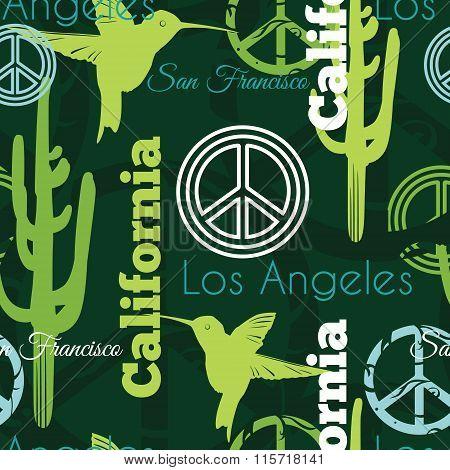 Vector Green California Animals Travel Seamless Pattern with Los Angeles, San Francisco, Hummingbird