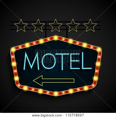 Shining retro light banner motel on a black background