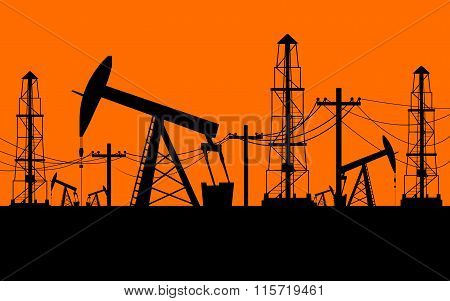 Silhouette of oil derrick