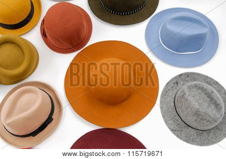 Set of colorful female hat