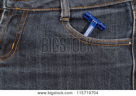 Blue Disposable Razor In His Pocket Jeans. Background.