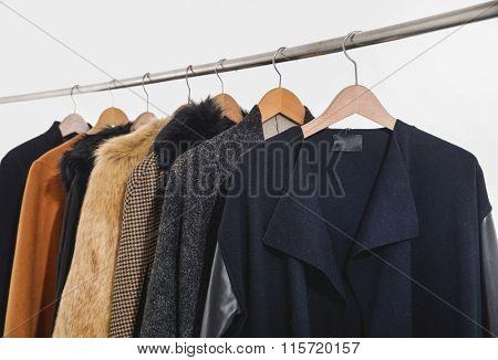 Row of female coat clothing hanging on hangers-white background