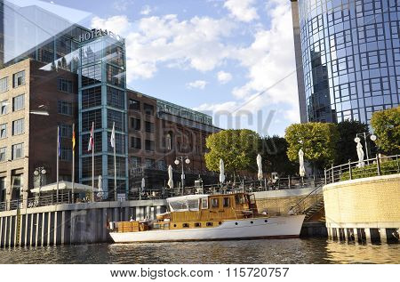 BERLIN,GERMANY-AUGUST 27:Through the window of the boat  view on august 27 2014