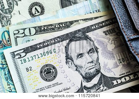 Currency dollar financial background. 5 dollar bank.