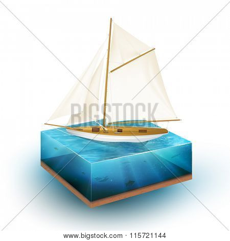 vector sailboat illustration