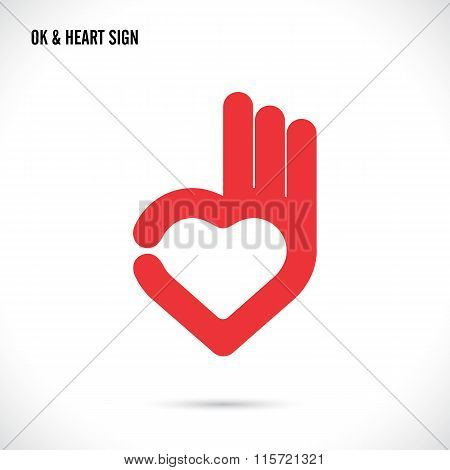 Creative Hand And Heart Shape Abstract Logo Design.hand Ok Symbol Icon.happy Valentines Day Symbol.