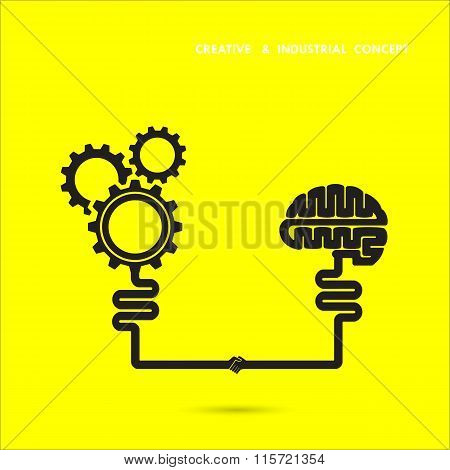 Creative Brain And Industrial Concept.brain And Gear Icon. Brainstorm Concept Business And Education