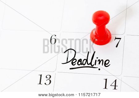Deadline Word Written On The Calendar.