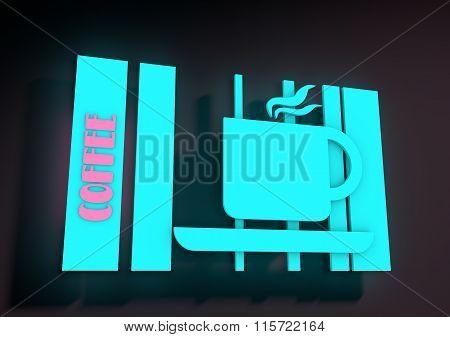 Illustration depicting an illuminated neon cafe sign.