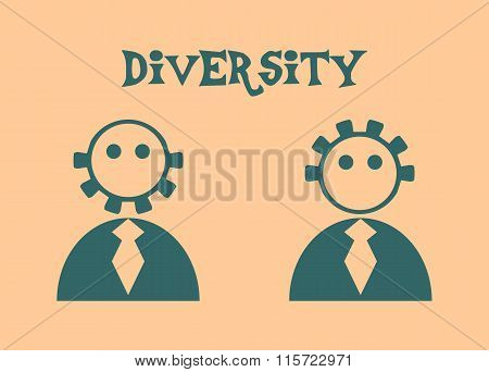 Abstract people icons. Diversity between humans metaphor