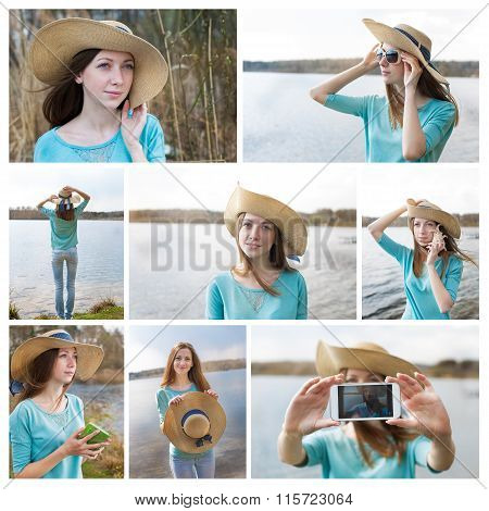 Photo Collage Of Girl In Hat