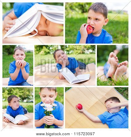 Photo Collage Of Boy On Picnic