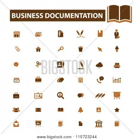 business documentation, document management, business  icons, signs vector concept set for infographics, mobile, website, application