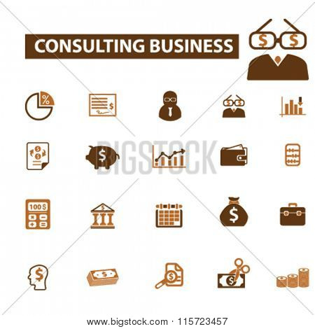 consulting business,  financial consultant, accounting agency icons, signs, vector