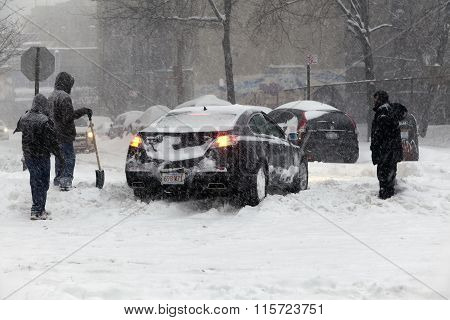 Auto In The Bronx Stuck In Snow During Blizzard Jonas