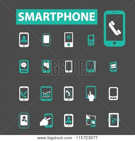 Smartphone icons, cell, smartphone isolated, phone  icons, signs vector concept set for infographics, mobile, website, application