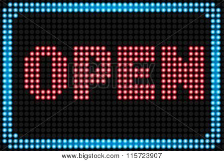 Open neon sign background