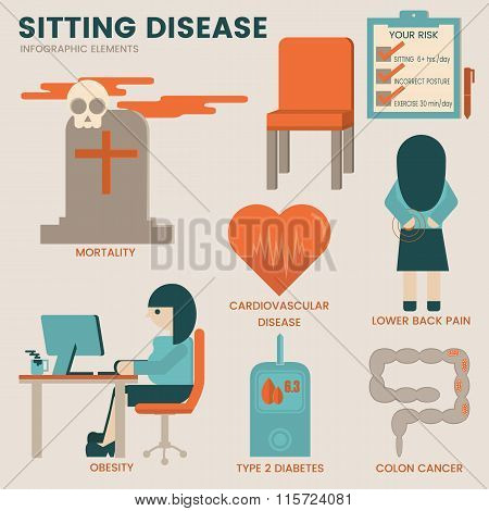 Sitting disease infographic elements. Health care concept.