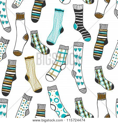 Seamless pattern of doddle socks on a white background