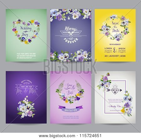 Vintage Pansy Flowers Card Set - for Wedding, Birthday, Baby Shower, Party - in vector