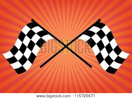 Two Finish Checker Flags Crossed On Orange Sunrays Background. Vector Illustration Victory Concept D