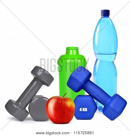 Dumbbells with apple and protein shaker
