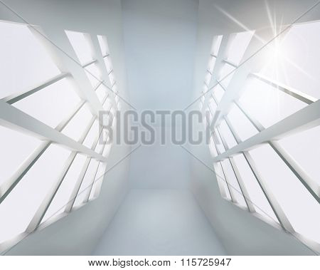 The interior of the office building. Vector illustration.