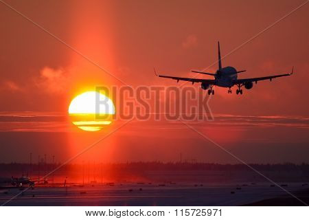 Airplane landing to sunset