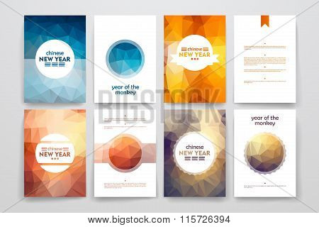 Set of brochures in poligonal style on Chinese New Year theme