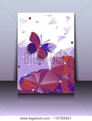 Abstract Geometric Background With A Butterfly Of The Polygons