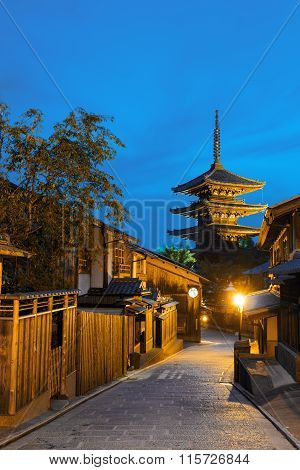 Road Wooden Houses Behind Yasaka No To Pagoda V
