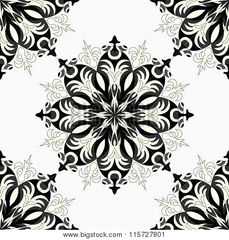 Monochrome Seamless Pattern. Vintage Decorative Elements.