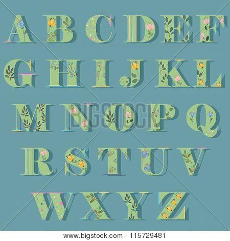 Floral Alphabet Vector Illustration