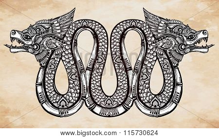 Hand drawn illustration of winged serpent.