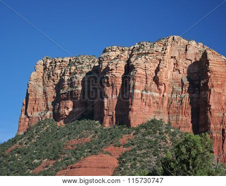Red rocks of Sedona against clear blue sky