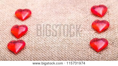 Two Rows Red The Stekyannykh Of Hearts On A Napkin From A Sacking