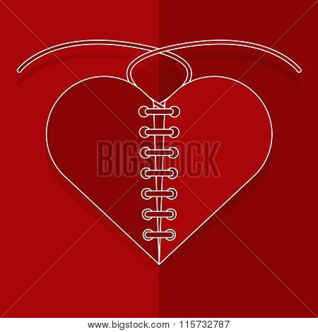 Recovery The Broken Red Heart With Thread Paper Cut Style. Vector Illustration Valentine's Day Love