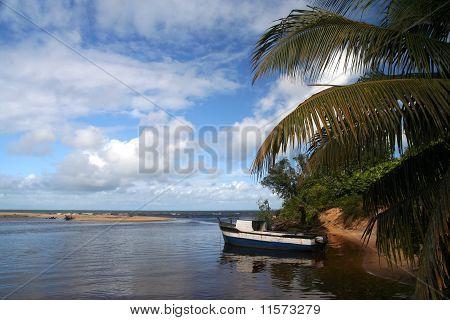 Boat in the river delta
