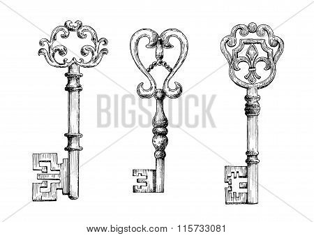 Sketch of medieval skeleton keys
