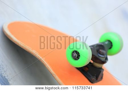 closeup of one skateboard at skate park