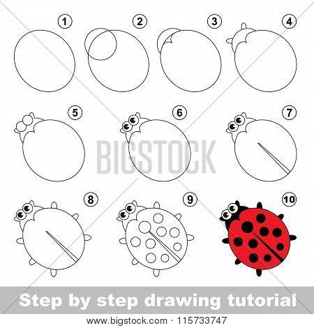 Red ladybug. Drawing tutorial.