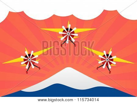 Group Of Airplane With Yellows Wing On Red Sun Rays And Moutain Like Mt.fuji. Vector Illustration Fl