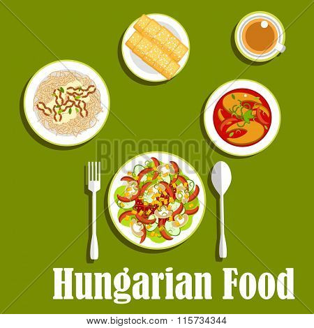 Dinner with dessert of hungarian cuisine