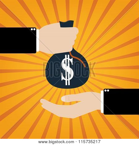 Businessman Taking Bribe To Another Businessman On Orange Sunrays Background. Vector Illustration Bu